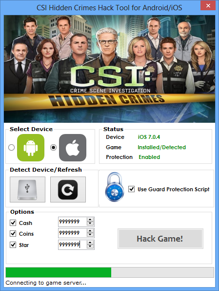 CSI Hidden Crimes - Hack Tool [no survey] main screen