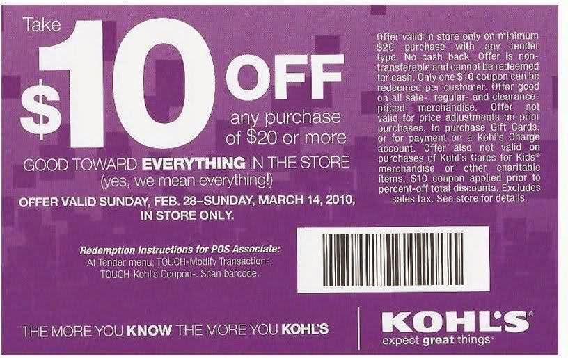 Kohls free shipping coupon code july 2018