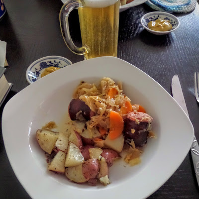 Slow Cooker Kielbasa and Cabbage:  A simple meal of polish sausage and cabbage cooked in a slow cooker.