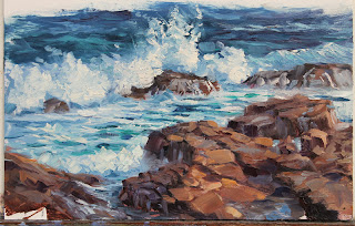 Near the Gap, plein air seascape oil painting by andy dolphin