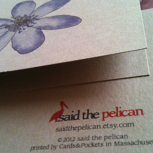 said the pelican bird flower note cards snail mail blog giveaway