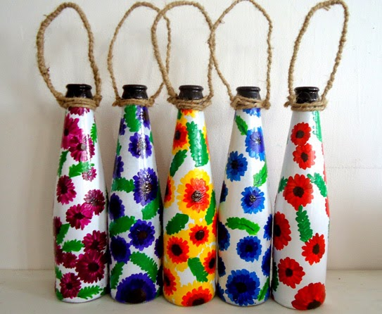 Recycle Craft Decorative Painted Bottle Ideas Creative