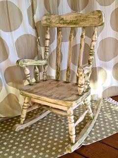 child's antique rocking chair pink green