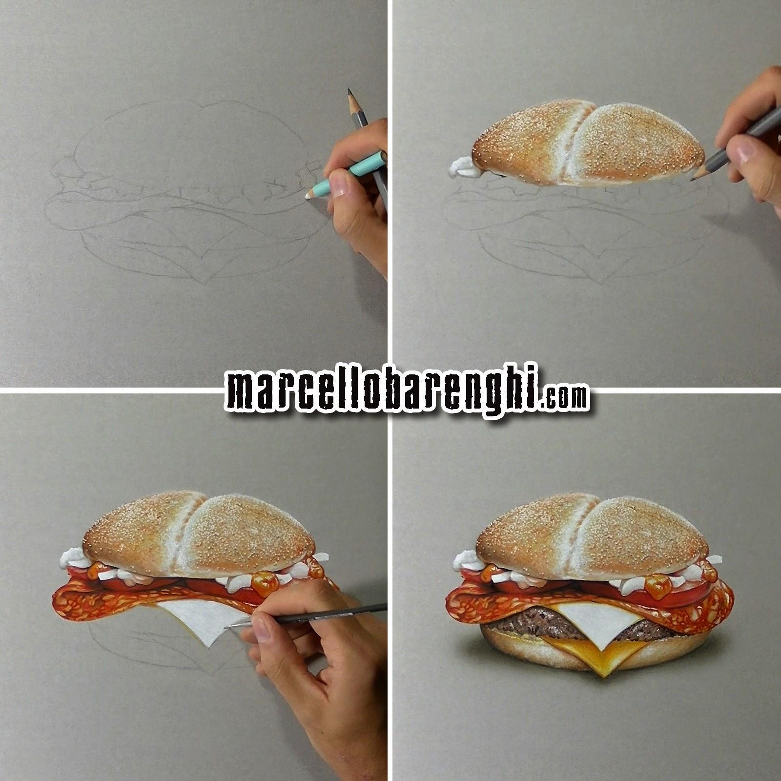 art drawings paintings sketches realistic hyper art hamburger