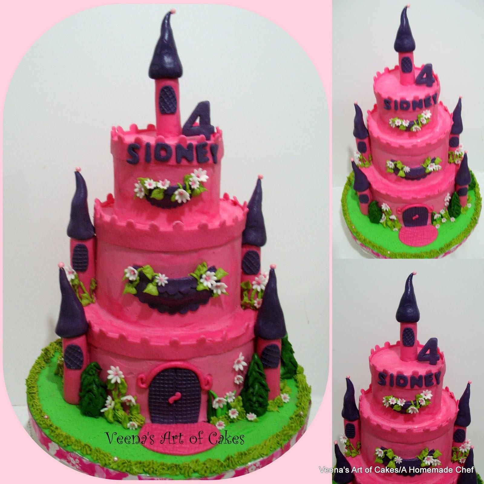 buttercream castle cake with princess cupcakes - veena azmanov