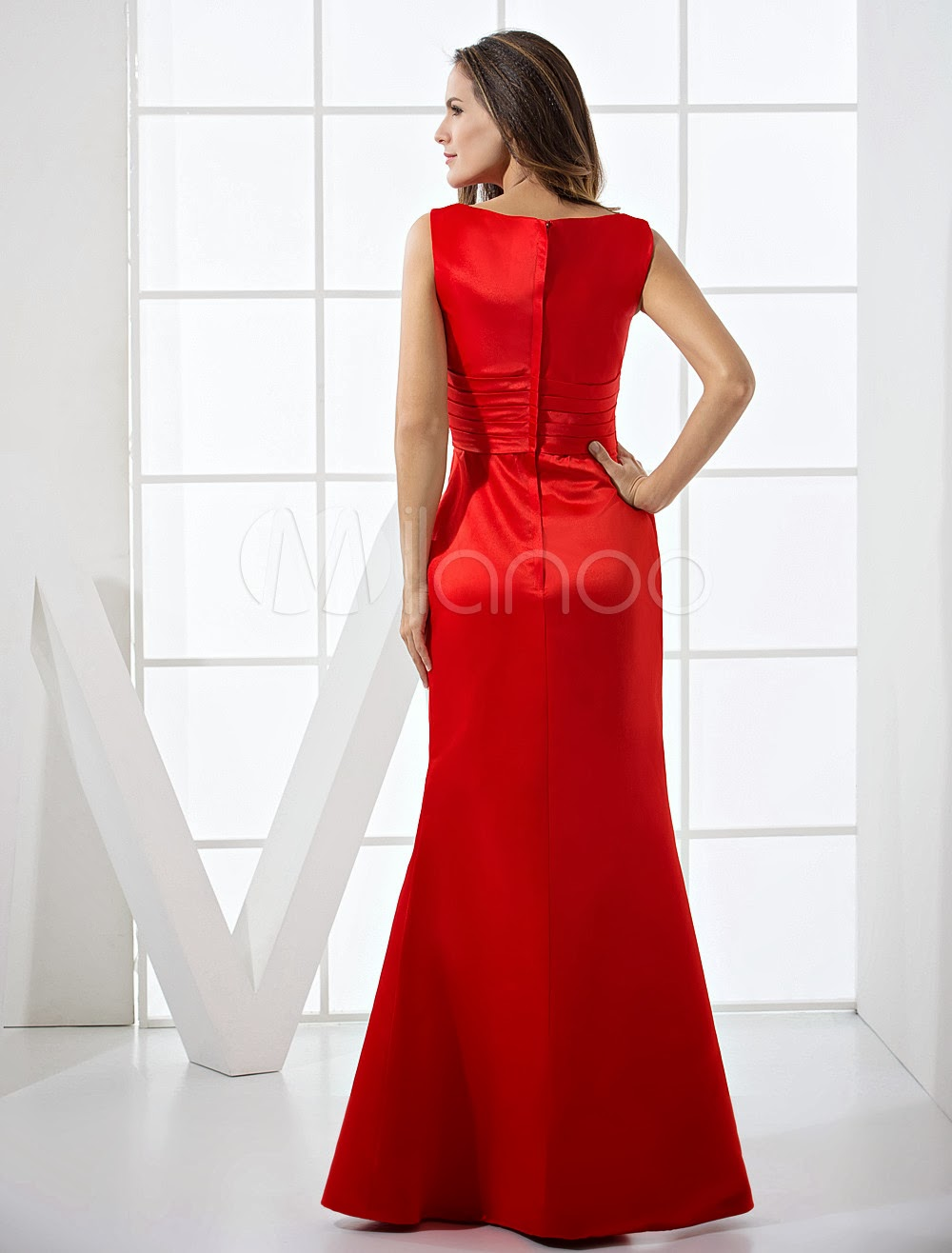 China Wholesale Dresses - Red Wrapped Waist Floor Length A-line Satin Evening Dresses