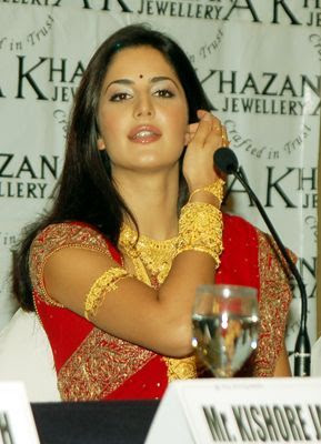 Katrina Kaif In Red Saree With Jwellary