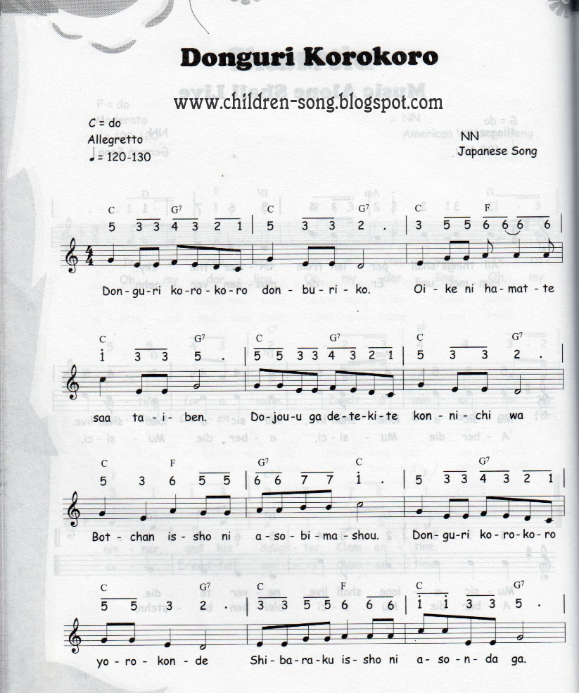 Donguri Korokoro Song With Notes And Chords