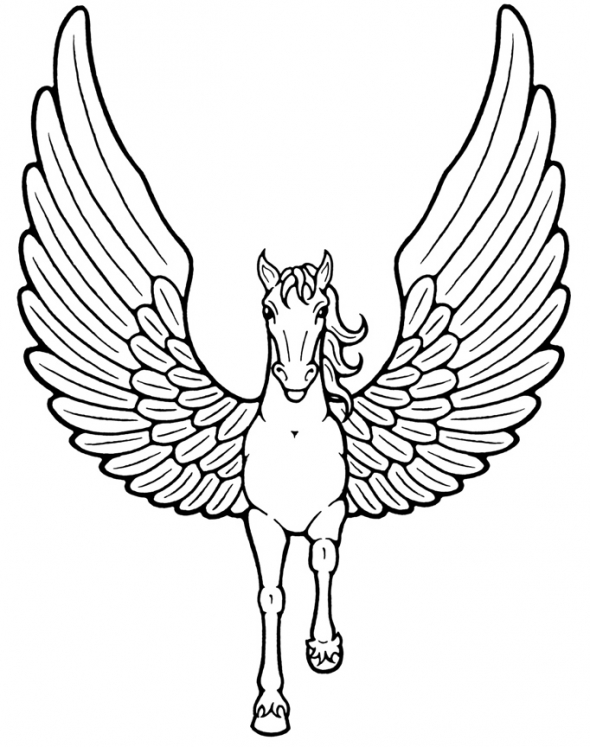The Unicorns With Wings Coloring Sheet title=