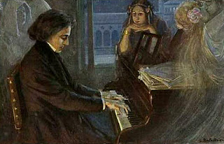Chopin Plays Piano for George Sand Vintage Postcard from Maja Trochimczyk's Collection