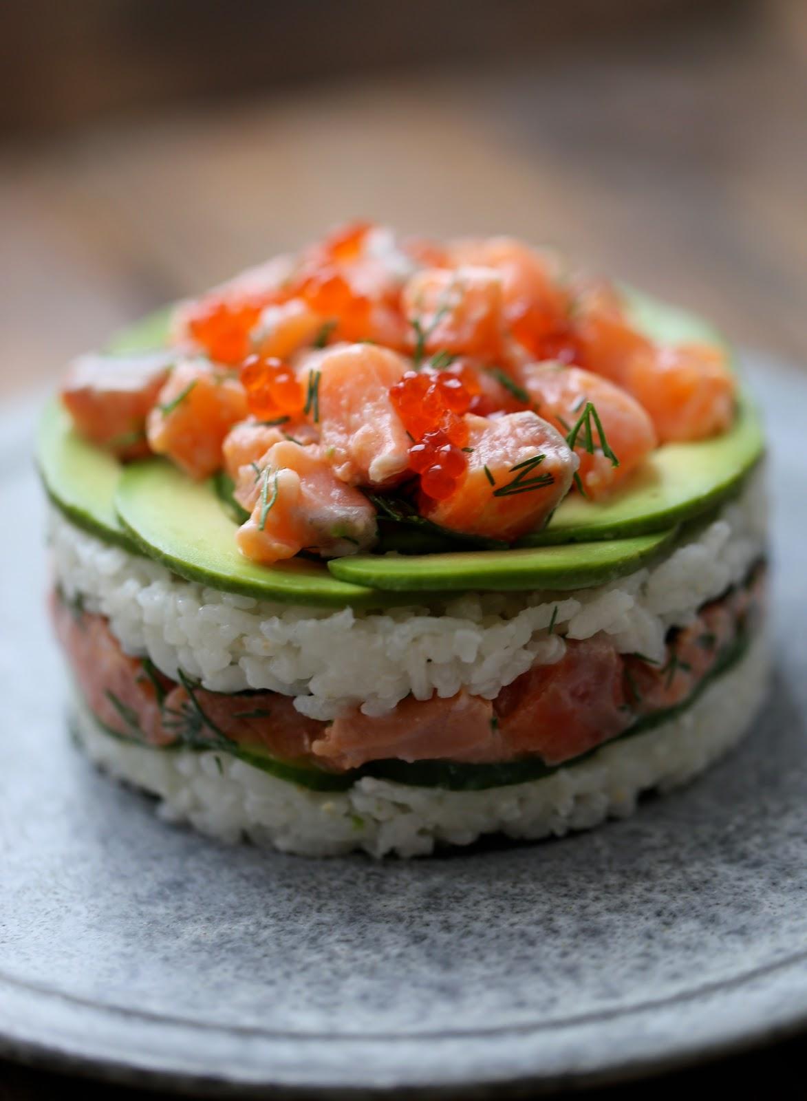 gateau sushi saumon ,noel