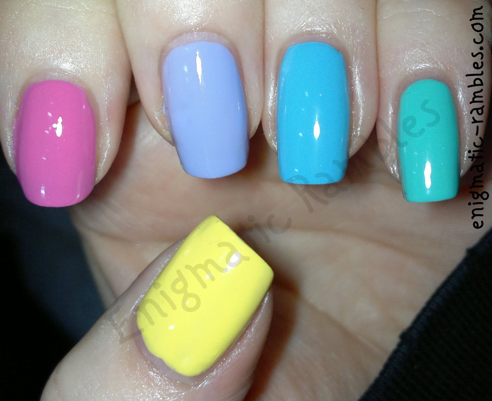 spring-2014-nail-polish-varnish-elf-eye-lips-face-yellow-models-own-pink-blush-barry-m-prickly-pear-greenberry-maybelline-cool-blue-skittle