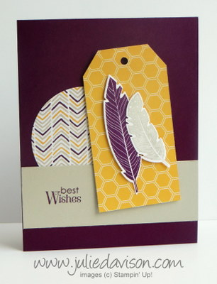 Stampin' Up! Four Feathers Card + Moonlight DSP #stampinup www.juliedavison.com