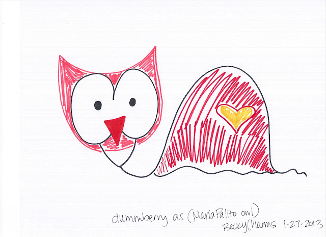 Dummberry as Maria Palito Owl, 2013, art, arte, beckycharms, cartoon, drawing, dummberry, illustration, Japan, kawaii, keroppi, lifestyle, San Diego, sanrio, sketch, snail, social, social media, twitter, maria palito, owl, hoot, Etsy,