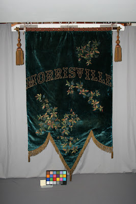 1887 Banner repaired and restored by textile conservator, Gwen Spicer.