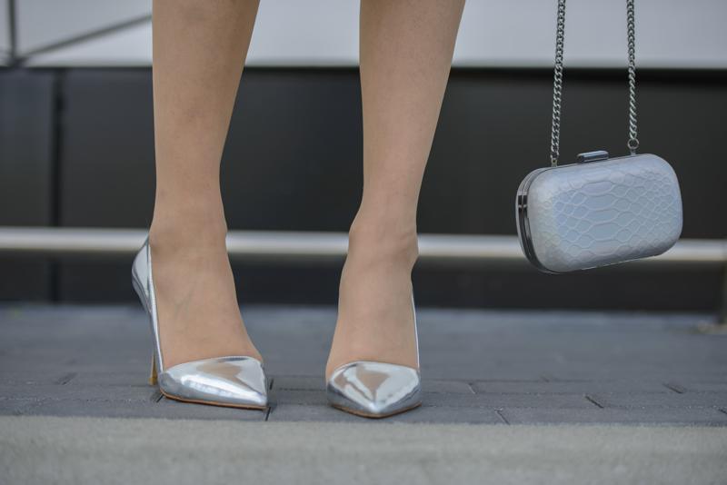 silver asymmetric heels