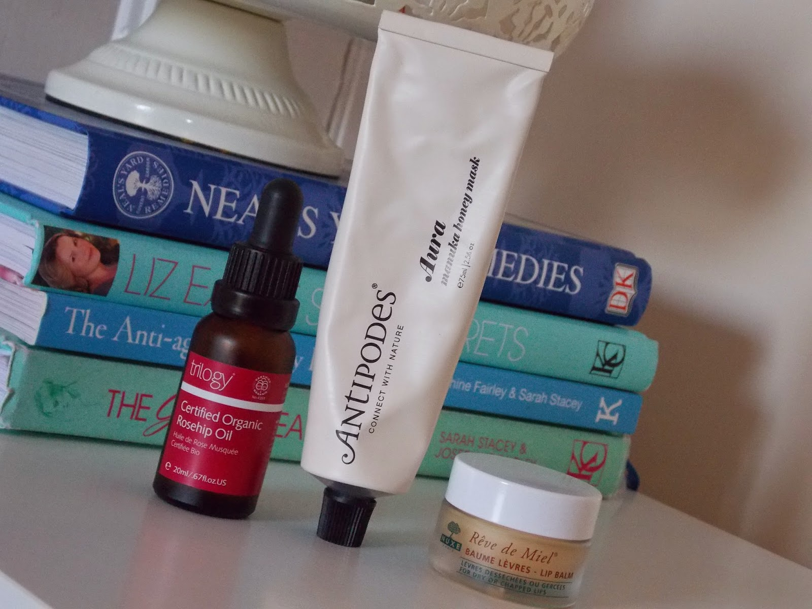 Trilogy Certified Organic Rosehip Oil, Antipodes Aura Manuka Honey Mask and Nuxe Reve de Miel Lip Balm