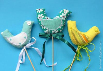 тканевая птичка на палочке своими руками для цветочного горшка