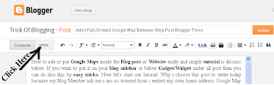 Add  Put  Embed Google Map Between Blog Post Blogger Tricks 2
