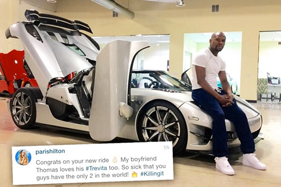 Paris Hilton mendompleng pamer yang dilakukan Floyd