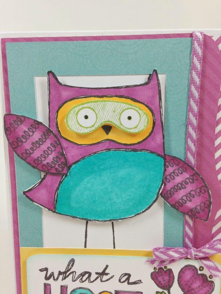 Cricut Artbooking Hoot Owl card close up 2