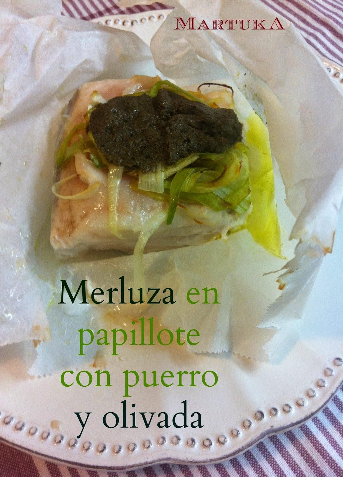 Las recetas de martuka merluza en papillote con puerro y - Merluza a la papillote ...