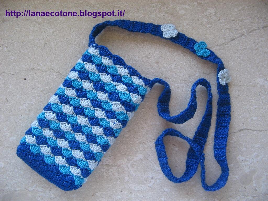 Lana e cotone maglia e uncinetto portatelefonino all - Si porta al collo ...