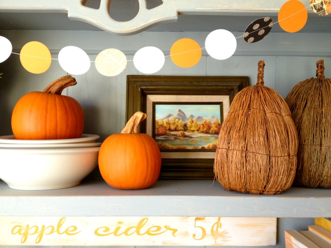 Traditional Fall Decor on Kitchen Hutch