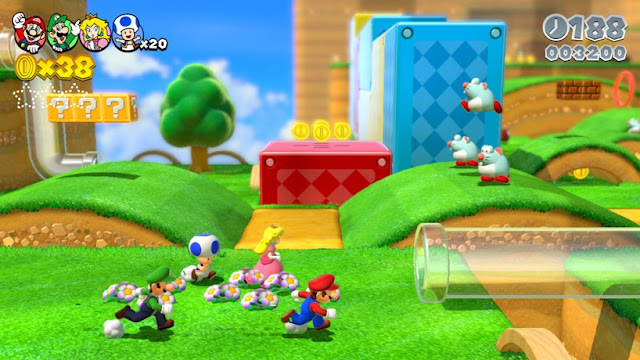 Mario, Luigi, Toad, and Princess Peach running on grass towards transparent pipe in Wii U game Super Mario 3D World