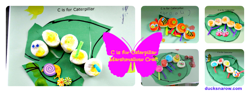 caterpillar marshmallow craft #kidscrafts #preschool #caterpillars Ducks n a Row