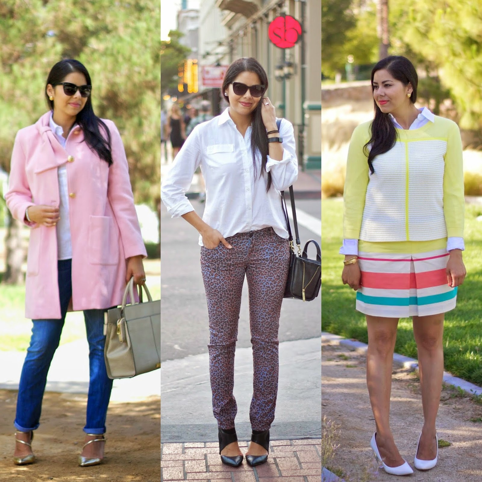 3 ways to wear a white button up, white button up, San Diego style blogger, san diego fashion blogger, I blog in san diego, i love san diego, pink tuscadero coat from CAbi, printed jeans, how to layer a sweater, latina fashion blogger