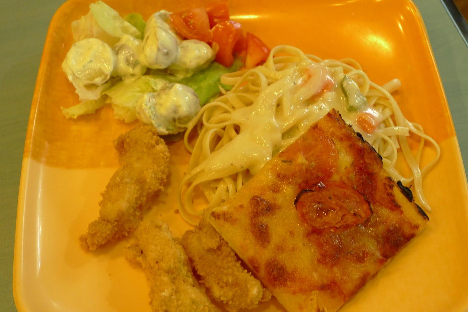 ... potatoes, fettuccine with alfredo sauce, fish fillet, grandma's pizza