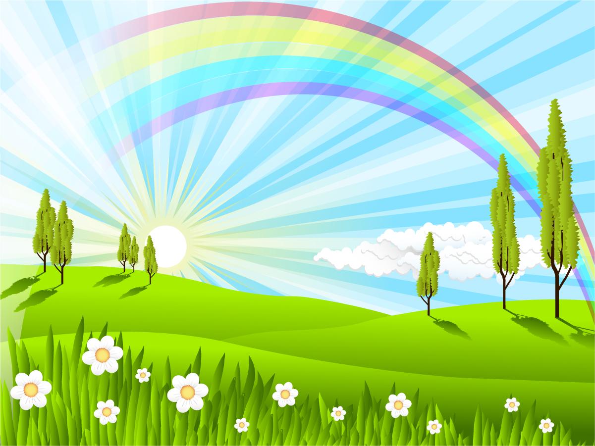 陽が射し虹の架かった草原の風景 Green Grass Rainbow Vector Background イラスト素材