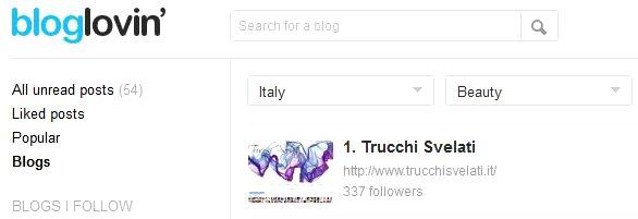 Trucchi Svelati primo beauty blog in Italia per iscritti su classifica Bloglovin'