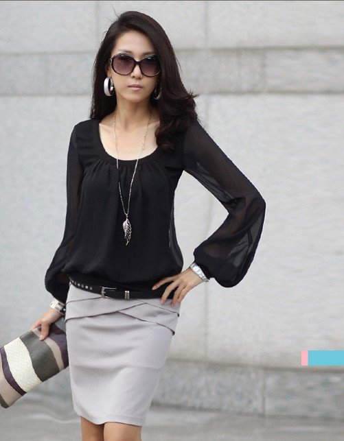Split joint long sleeve sheer U-Neck blouse fashion