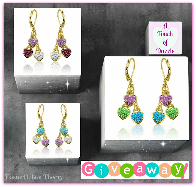 Childrens Dangling Triple Heart Shamballa Earrings by A Touch of Dazzle - Review & Blog Hop Giveaway