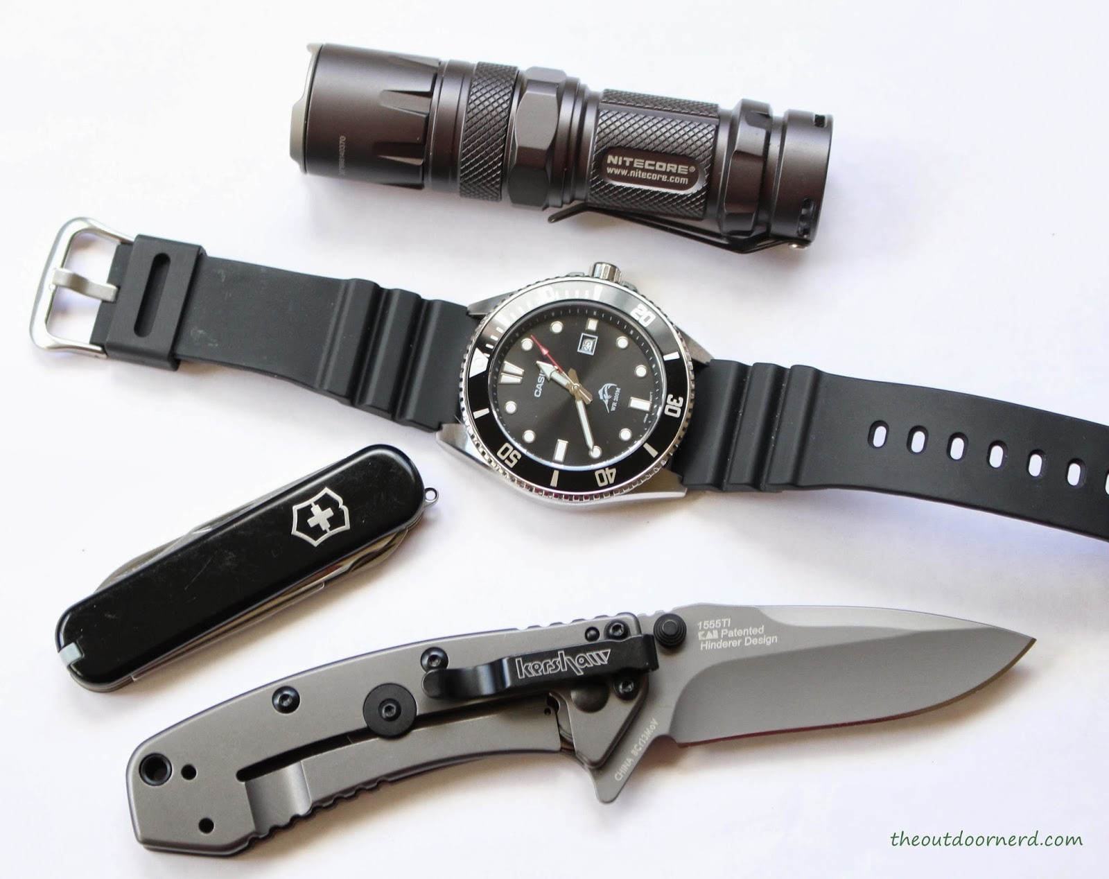 Kershaw Cryo EDC Pocket Knife: Shown With Nitecore SRT3 Flashlight, Casio Watch and Victorinox Executive Pocket Knife