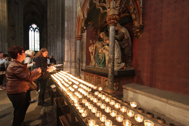 Prayer Candles at Cologne Cathedral in Cologne, Germany