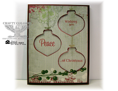 Crafty Colonel Donna Nuce for House of Cards Challenge blog, Stamp Punch Window technique, Stampin'Up Stamps and punch, Christmas Card.