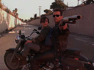 Terminator riding motorcycle
