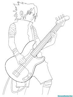 Mewarnai Gambar Sasuke Bermain Gitar