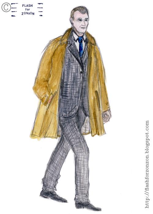 Street Style. Grey Plaid Suit, Kamppi, Helsinki.