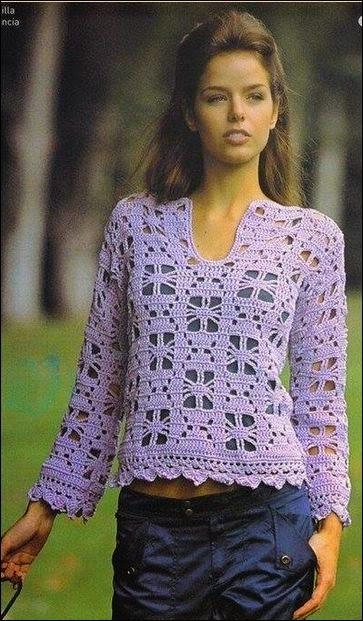 Túnica de verano crochet mangas largas