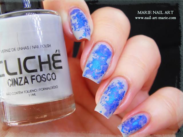 Nail Art Double Texture de Bleu