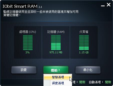 智慧型全自動系統記憶體釋放優化工具,IObit Smart RAM V3.0.0.629 繁體中文綠色免安裝版!