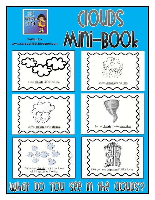 Clip Art by Carrie Teaching First: Clouds Mini-Book