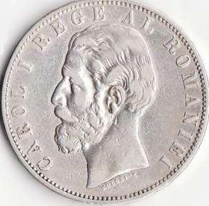 Moneda din argint Romania, 5 lei, 1883, diametru 37 mm, 25g - Carol I