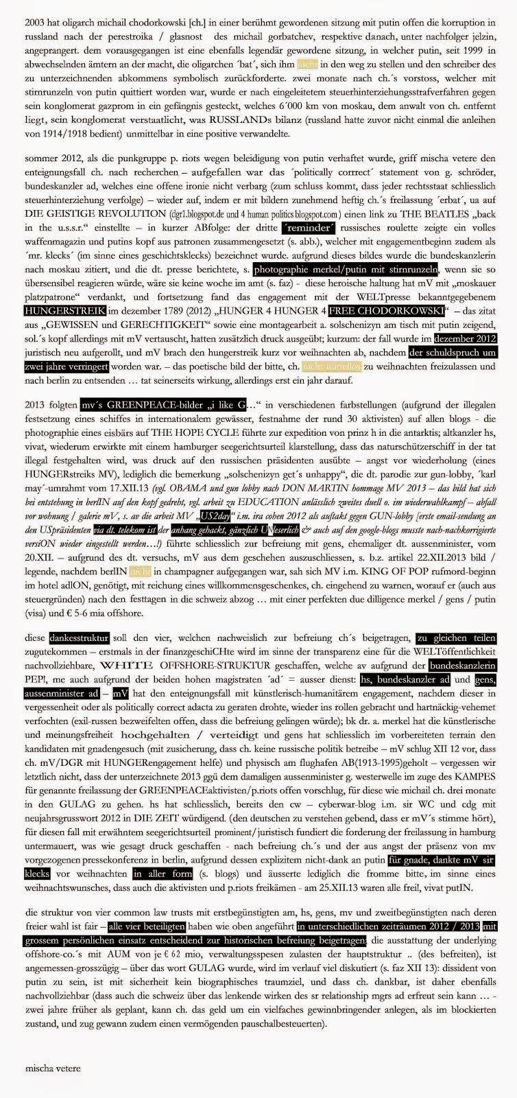 la tricherie allemande concernant m. chodorkowski liberatiON n´est pas comprehensible mischa vetere