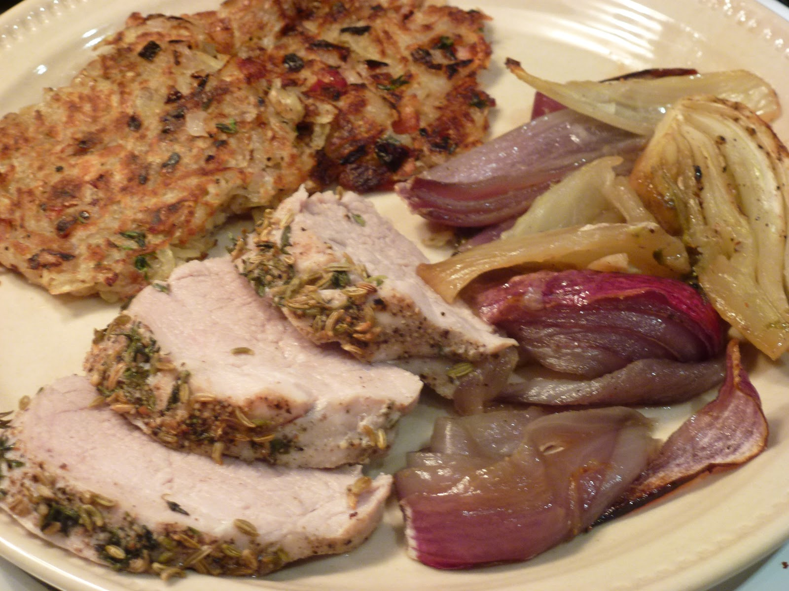 Fennel-Roasted Pork Tenderloin With Sweet Onions Recipe — Dishmaps
