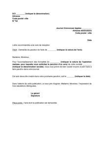 lettre de demande d'annonce légale au MAROC